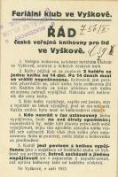 Řád první veřejné knihovny zřízené Feriálním klubem ve Vyškově v roce 1896