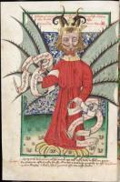 Jenský kodex Čechy, přelom 15. a 16. st., vyobrazení ďábla, Knihovna Národního muzea