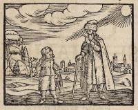 Dřevořezba k úvodu Orbis pictus, kde učitel seznamuje žáka s učivem. Rytina je z norimberského vydání z r. 1660, které vyšlo jen dva roky po prvním.