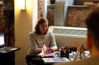 Finská bohemistka a rezidentka Českého literárního centra Petra Virtanen na semináři o finské komiksové tvorbě. Foto: Ondřej Buddeus