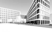 Pohled na budoucí areál Nejvyššího kontrolního úřadu s depozitářem Parlamentní knihovny a Archivu Poslanecké sněmovny (objekt vpravo)
