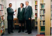 Jaromír Kubíček, ředitel MZK, Dagmar Lastovecká, primátorka města Brna, Eduard Schmidt, rektor MU