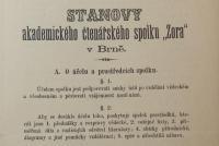 Stanovy akademického čtenářského spolku Zora, který působil v Brně v letech 1867–1920.