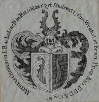Exlibris brněnského biskupa Matyáše Chorinského z Ledské (1720–1786). (KBOR, R-V.III.bb.31) Knihovnu prvního brněnského biskupa po jeho smrti v roce 1787 výhodně zakoupil Otmar Conrad za pouhých 300 zlatýc
