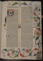 Ukázka iluminovaného prvotisku z broumovské knihovny. Vincentius Bellovacensis. Speculum historiale. Strassbourg, Adolf Rusch, asi 1473. (B-S. LVI. a. 5A)